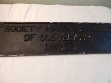 Vintage Society National Bank of Cleveland Owner Metal Sign Plaque