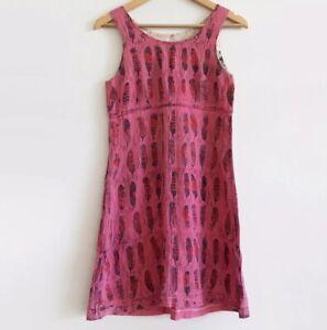 Vintage Pink Mini Shift Dress Feather Print Homemade Cotton Boho Festival