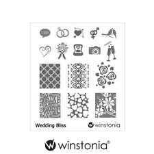 Winstonia Nail Art Stamping Image Plate Wedding Bliss Stamp Polish Disc Romantic