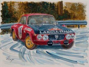 Artimotor - acrílico 31x23 / 1972 Munari-Mannucci (Lancia Fulvia) R Monte Carlo