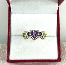 1.25ct Natural Heart Shape Amethyst & Peridot Antique Finish Ring