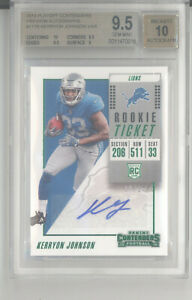 Kerryon Johnson auto card /24 2018 Panini Contenders preview ticket BGS 9.5 Lion
