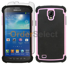 Hybrid Rubber Case+LCD Screen Protector for Phone Samsung Galaxy S4 Active Pink