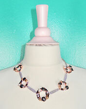 MARC JACOBS ROSE GOLD SILVER BIG CHAIN LINK CRYSTALS STATEMENT NECKLACE $178 NWT