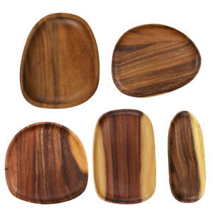 Acacia Irregular Oval Flat Plate Solid Wood Tableware Set Fruit Tray Dishes