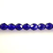 Cobalt Blue Transparent - 25 8mm Round Czech Glass Faceted Fire Polish Beads
