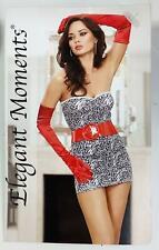 Elegant Moments- Strapless Mini Dress with Red Patent Leather Belt- Size Medium