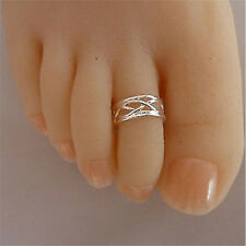 Celebrity Fashion Simple Sliver Plated Adjustable Toe Ring Foot Jewelry^v^