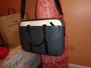 NWT COACH MEN's Business Bag Leather Perry Slim Brief ColorBlock GRAPHITE 56018