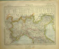 1882 LETTS MAP NORTHERN ITALY PIEDMONT LOMBARDY EMILIA GENOA VENEZIA MODENA