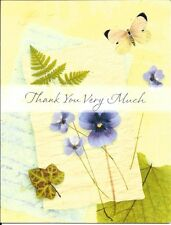 Butterfly Fern Pansy - Blank Note Thank You Cards By Hallmark - Set of 16