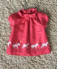 Janie And Jack Girls Coral Carousel Horse Top. Size 12-18 Months