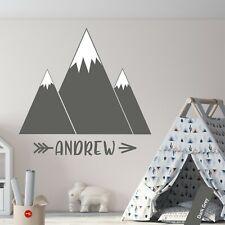 Mountains Custom Name Wall Sticker Kids Nursery Scandinavian Girls Boys Decal