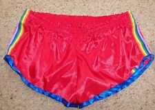 Red shiny nylon satin shorts with rainbow trim (L) - shiny / glanz / boxer / kit