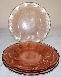 """Vtg Jeannette Pink Depression Glass CHERRY BLOSSOM 9"""" Dinner Plate Set of 4"""