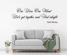 Bob Marley One Love One Heart Lyrics Bedroom Wall Art Quote Vinyl Decal Sticker