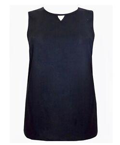 Ladies Black Sleeveless Blouse Top Plus Size 18/20 22/24 26/28 Cami Vest 312