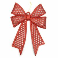Christmas Red and Gold Plastic Bow Ornament Home Hanging Décor with Glitter