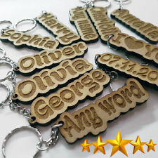 Personalised KEYRING KEYCHAIN ANY NAME ANY WORD TEACHER GIFT SCHOOL BAG WORD
