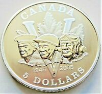 2005 CANADA, Silver 5 Dollars, 60th Anniversary WW.II, grading CHOICE UNC.in 2x2