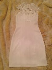 White Premium Structured High Neck Lace Mini Dress - US S - White - NWOT Small