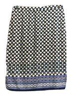 Max Studio Womens Pencil Skirt Blue White Floral Knee Length Stretch Waist S New