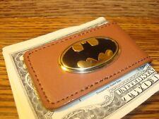 BATMAN Metal Logo Design BUCHANAN'S DELUXE Faux Leather Magnetic Money Clip