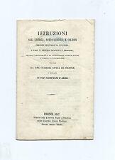Libro Istruzioni Agli Ufficiali e Soldati per Ben Montare Guardia Civica Firenze