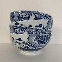 Set of (4) Pier 1  BLUE HARE Soup Cereal BOWL Floral Rabbit Bunny Flowers Blue