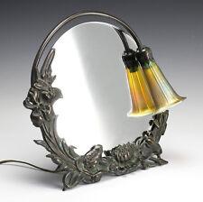 Bronze Dresser Mirror and Lamp - Gold iridescent art glass shade, raised floral