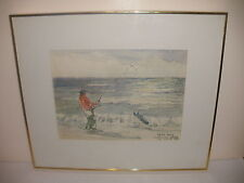 LISTED  MAITLAND GRAVES PEN INK PAINTING FISHING ON THE BEACH SIGNED FRAMED