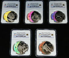 2007 Canada Hologram Coins, 5 Silver $25 NGC PR-69 Set, Olympic Royal Mint