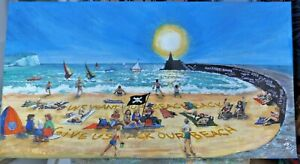 Newhaven Beach Happy Seaside Picnics Swimmers Lord Lucan graffiti Lighthouse
