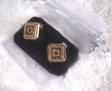 Art Deco Pattern Unused Brass & Enamel: Clip Type Earrings Set in Gift Pouch