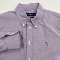 Ralph Lauren Button Up Shirt Men's Large Long Sleeve Purple White Custom Fit