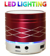 Red Wireless Bluetooth Portable Mini Speaker Travel Bass - with LED lighting