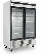 Atosa Mcf8707 2 Glass Door Refrigerator Stainless Steel W/Casters Bottom Mount