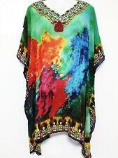 Sheer Embellished Kaftan Tunic Georgette Digital Printed Size 16-18-20-22-24