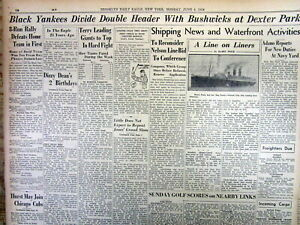 Best 1934 hdlne display newspaper Early NEGR0 BASEBALL - NEW YORK BLACK YANKEES