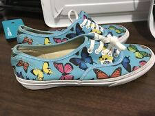 Vans Off The Wall Lace Up Blue Butterfly Shoes Women's 8 Mens 6.5
