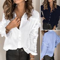 ZANZEA Womens Long Sleeve Turn Down Collar Ruffles Shirt Cotton Tunic Top Blouse