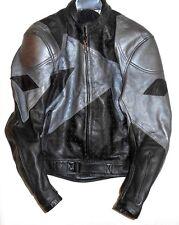 Men's Teknic Size Large Black Gray Leather Street Style Motorcycle Biker Jacket