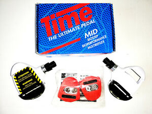 NOS NIB Complete TIME MID57 Pedals + cleats and bolts WHITE