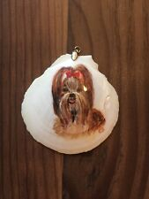 "Collectible 2.5""x2.5"" Hand Painted Shih Tzu white Shell Ornament by C.S."