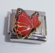 RED BUTTERFLY 9mm Italian Charm - fits Classic Starter Bracelets July Birthstone
