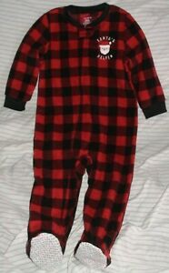 CARTER'S RED & BLACK PLAID FOOTED SLEEPER-SANTA'S HELPER-SIZE 24 MONTHS-NWT