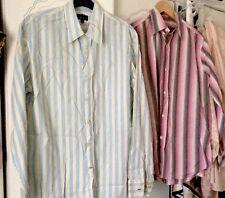 Paul Smith Shirts X2 Single Cuff Size Medium Aqua Pink Stripe Ivory