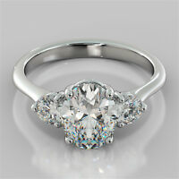 2.60Ct Oval Cut 3-Stone Engagement Ring 14K White Gold - Matching Band Available