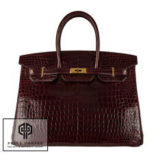 HERMES 35CM BIRKIN BORDEAUX RED SHINY CROCODILE GHW GOLD BNIB GORGEOUS AND RARE