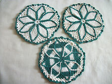 "3 Vintage Green/White Crochet Pot Holders Hot Pads 6""   #6"
